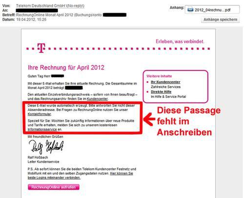 zweifelhafte mail mit vorgeblicher telekom rechnung. Black Bedroom Furniture Sets. Home Design Ideas